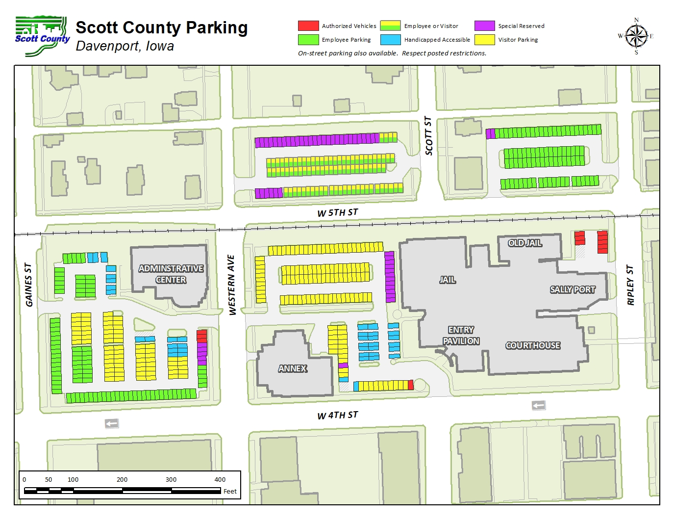 Scott County Iowa downtown campus parking map.