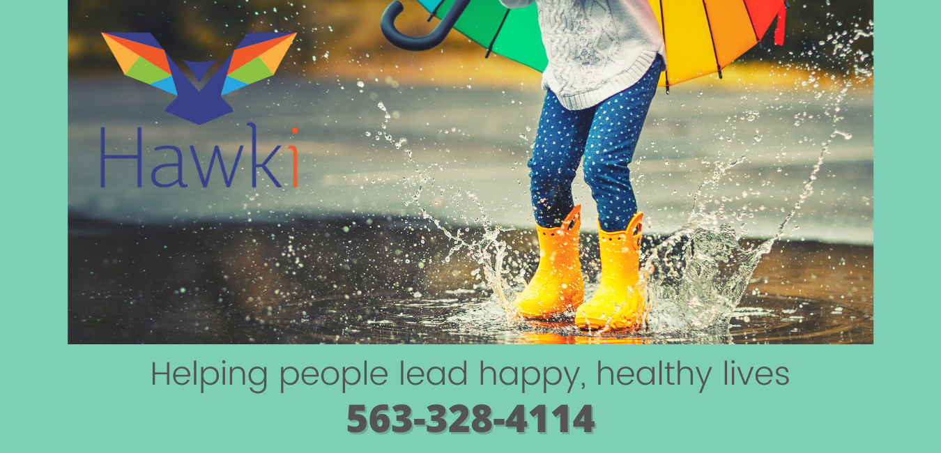 Hawki logo, child with umbrella splashing in the rain
