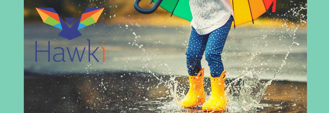 hawk-i logo, happy child spahing in rain