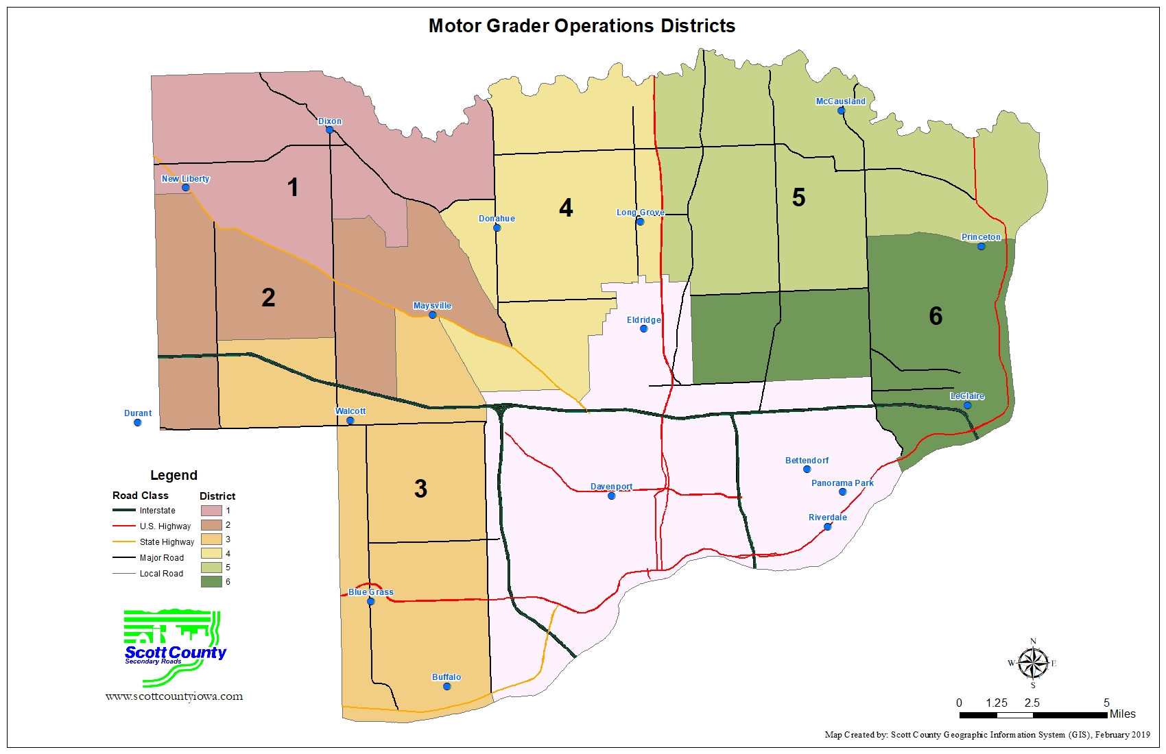 Map of the motor grader operation districts.