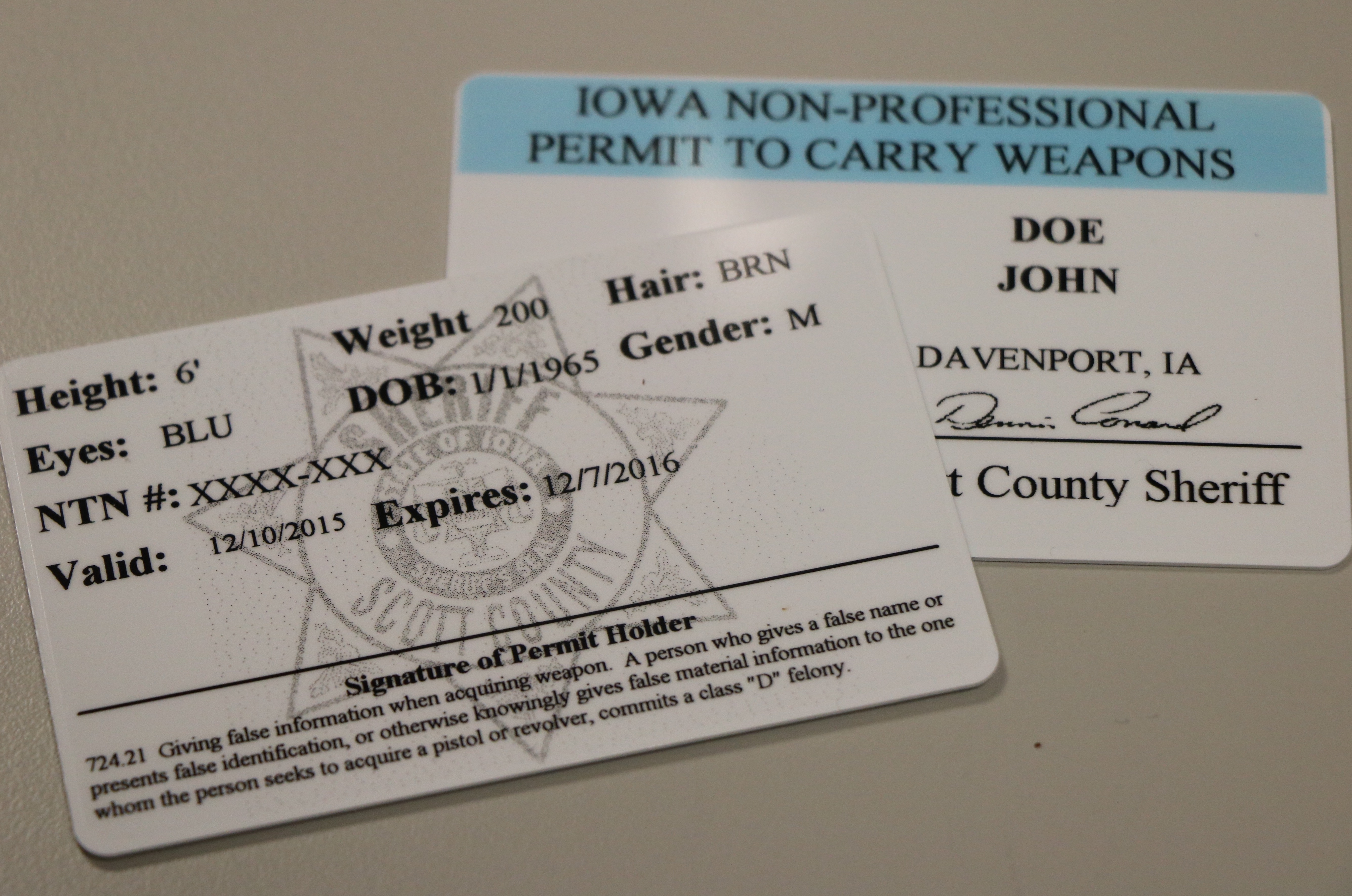 Weapon Permits Scott County Iowa