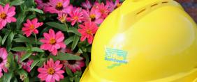 Flowers and a hard hat.