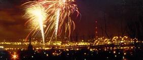 Fireworks display on the Mississippi River.