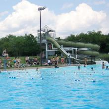 Swimmers in the pool at Scott County Park.