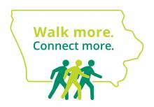 Logo for Walk More Connect More:  three figures walking across an outline of the state of Iowa