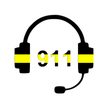 The numbers 911 surrounded by a headset.