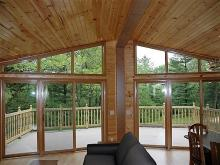 Pine Grove Cabin interior looking outside to the deck.
