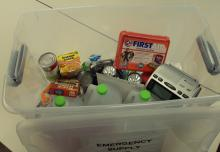Plastic bin of emergency supplies