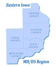 Logo of the region showing a map of the 5 member counties.