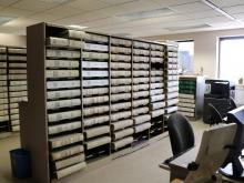 Stacks of records in the Recorder's Office.