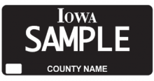 This is a sample of the Iowa black out license plate.