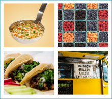 Collage of food truck and farmer's market foods