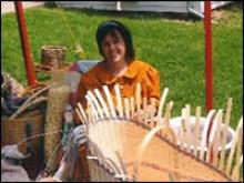 Woman making a basket.