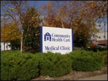 Community Health Care street sign.