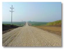 A gravel road in Scott County.