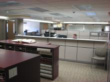 View of platroom toward office area.
