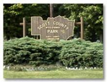 Scott County Park welcome sign.