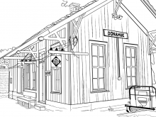 Outline drawing of the Donahue depot.