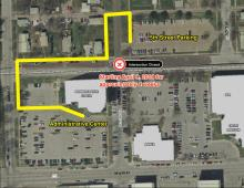 Map showing detour pedestrian route from 5th Street Parking lot to Admin Center.