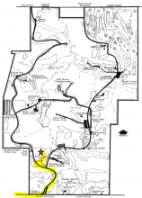 Map with directions to the cabin.