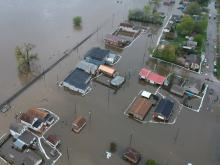 Flooding of Buffalo Iowa from the air.