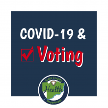 Graphic - COVID-19 & Voting with SCHD logo