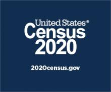 United States Census 2020 logo. 2020census.gov