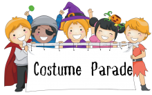 """Children dressed in Halloween costumes holding a sign that says """"Costume Parade"""""""