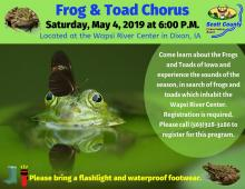 Photo of frog with program info