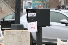 The Treasurers Office drop box in the parking lot of the Administrative Center.