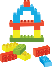 A pile of brightly colored building blocks