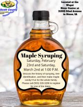 flyer with maple syrup bottle