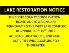Lake Resoration Notice: Drawdown of the lakes begins July 2019