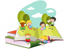 Kids reading on an over-sized open book with a nature background