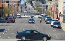 City street traffic.