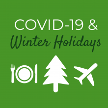COVID-19 winter holidays with tree, airplane, plate images
