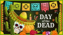 Day of the Dead Mexican sugar skull with sombrero vector greeting card, marigold flowers, candle, and banner