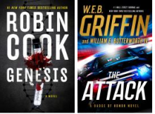 This is a picture of the book covers for Robin Cook's Genesis and WEB Griffin's Attack.