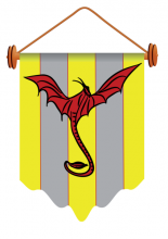 banner with dragon isolated on a white