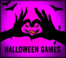 """Silhouette of hands making a jack-o-lantern over a pink background with the words """"Halloween games"""""""
