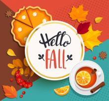 This is a picture that says Hello Fall and leaves and apples and pumpkin pie