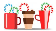 Cups of hot coffee with Christmas candy sticking out.