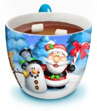 This is a mug with hot chocolate.
