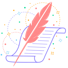 Purple scroll, pink quill, and small colorful swirls