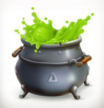 Black witch's cauldron overflowing with green liquid