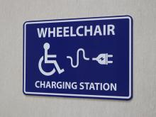 Wheelchair Charging Station location sign.