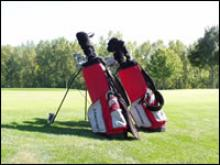 A pair of golf club bags sitting on the greens.