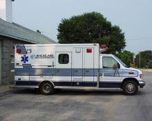 Wheatland ambulance from side.