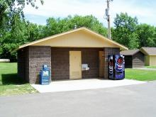 Restroom and shower house available for campers at Buffalo Shores.