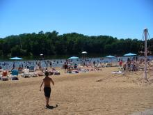West Lake Beach on a busy day.